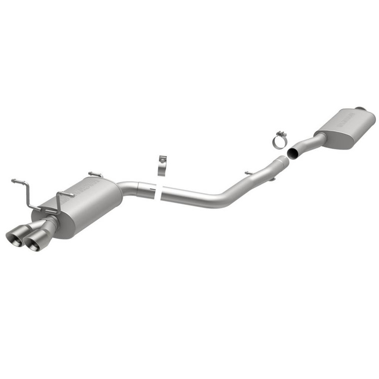 Magnaflow Stainless Steel Cat-Back Performance Exhaust System 5x8x14 in. Muffler 4x18 in. Resonator 2.5 in. Tubing /Exhaust Systems/Dual Exhaust Kit Rear Exit 4 in. Pol. Stainless Steel Tip Mandrel-Bend