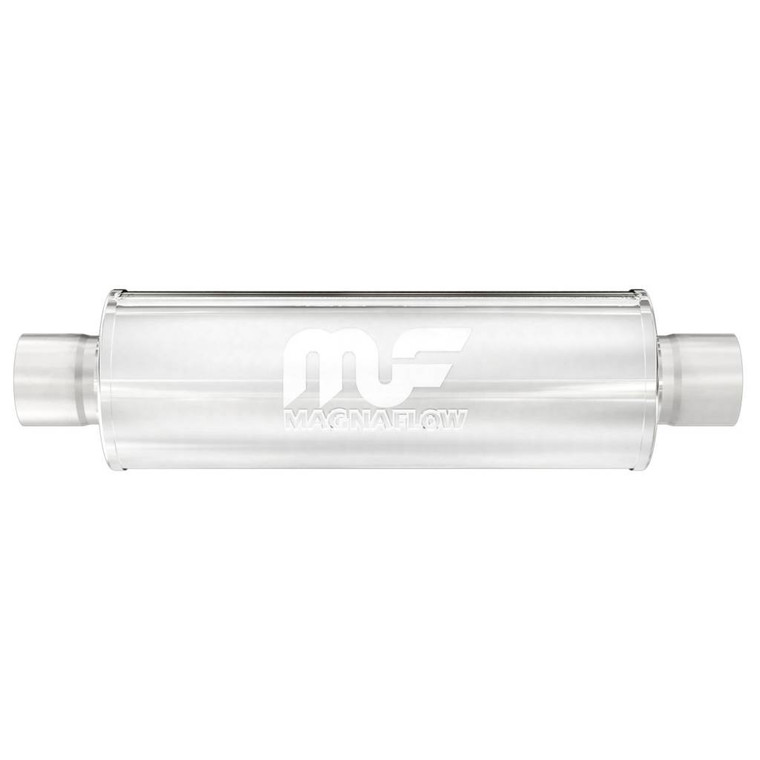 """Magnaflow Stainless Steel Muffler 5"""" Round Body 2.5"""" Inlet/Outlet/Center Inlet/Outlet 2.5"""" Core 14"""" Body Length 20"""" Overall Length Satin"""
