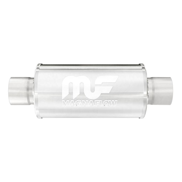 "Magnaflow Race Series Stainless Steel Muffler 6"" Round Body 2.5"" Inlet/Outlet/Center 2.5"" Core 6"" Body Length 12"" Overall Length Polished"