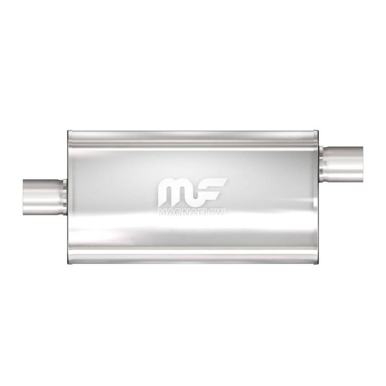 """Magnaflow Stainless Steel Muffler 5x11"""" Oval Body 3.5"""" Inlet/Outlet Offset Inlet/Center Outlet 22"""" Body Length 3.5"""" Core 28"""" Overall Length Satin"""