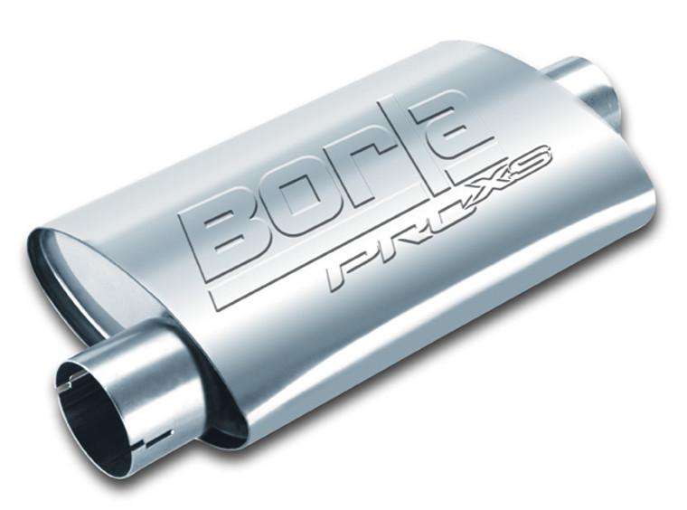 "Borla ProXS Muffler™ 2.5"" Offset/Center 14""x4.25""x7.88"" Universal part. Reversible design for installation flexibility. Notched necks for clamp-on installtion."