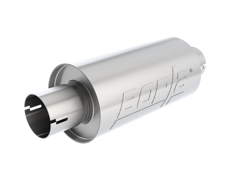 "Borla S-Type - 2.5"" Center-Center 10"" x 5"" Round - Specialty Muffler.  Universal part. Reversible design for installation flexibilty. Notched necks for clamp-on installtion."