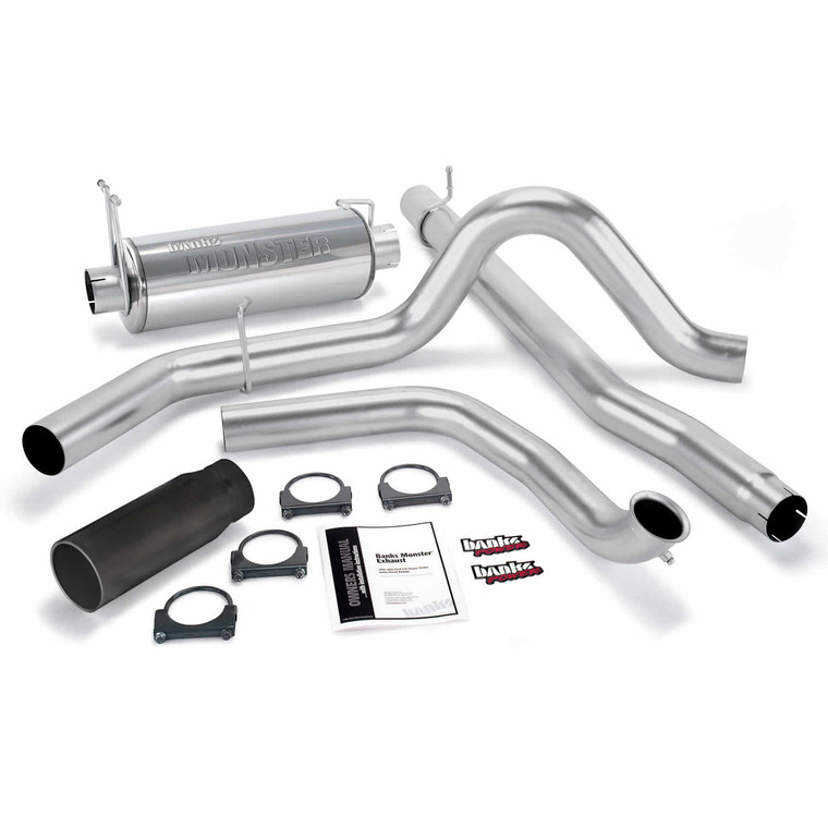 "Banks 4"" Monster Exhaust 1999-03 Ford 7.3L - Black Tip (No Cat)"