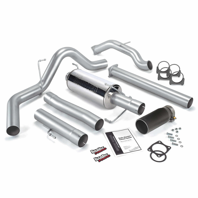 "Banks 4"" Monster Exhaust 2003-04 Dodge 5.9L No Cat - Black Tip (CC/LB)"