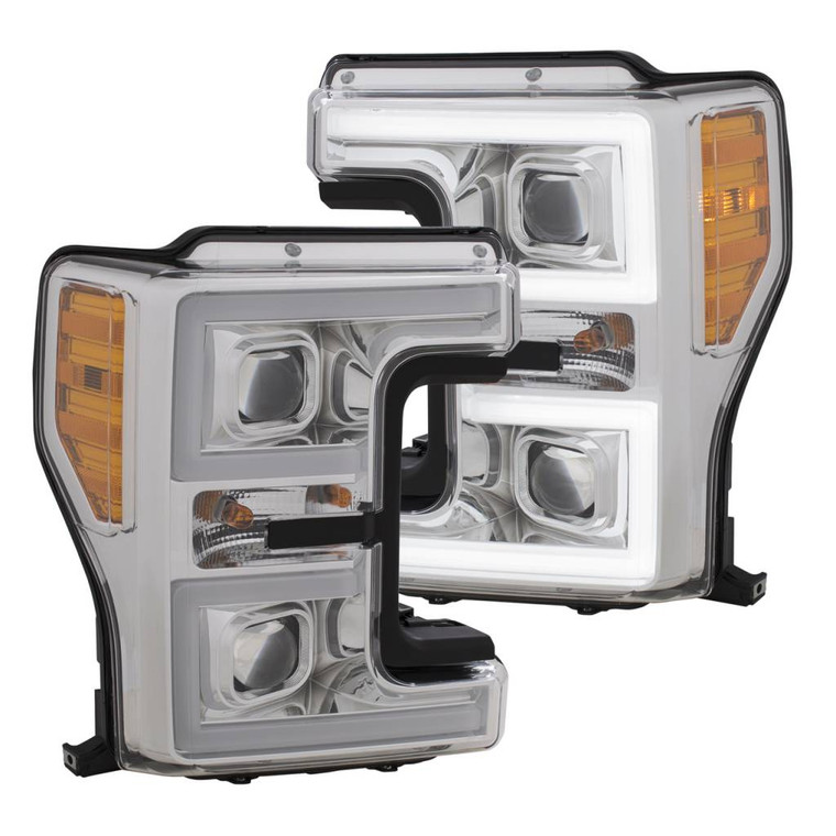 Anzo 2017-2018 F250 & F350 ANZO LED Switchback Outline Projector Headlights (Chrome Housings)