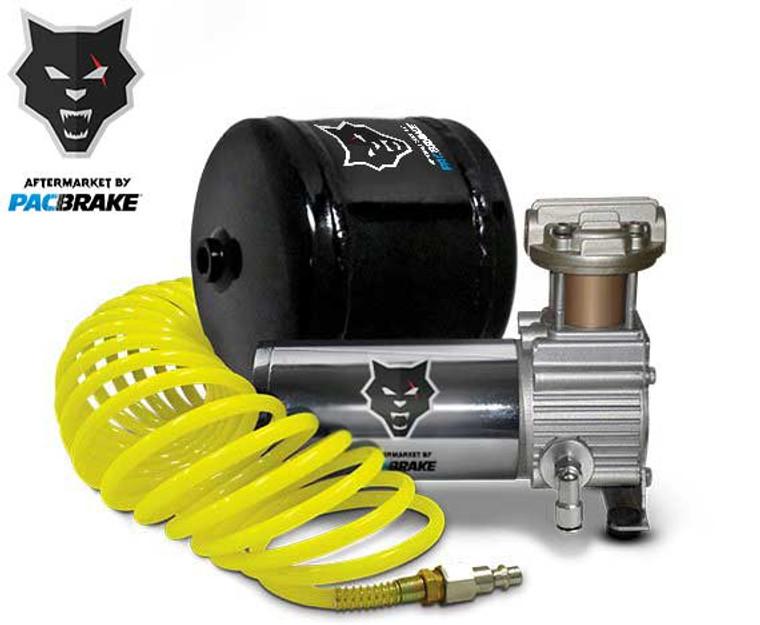 Pacbrake Premium Trio Air Horn Kit W/Air Horn Kit (HP10235) And Onboard Air Kit (HP10163)Matte Black Pacbrake