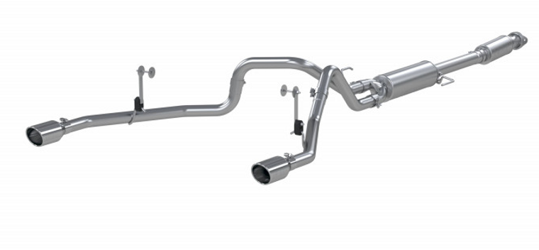 """MBRP 3"""" Cat-Back 2.5 Inch Dual Split Rear Exhaust System, 2021 Ford F-150 T409 Stainless Steel"""