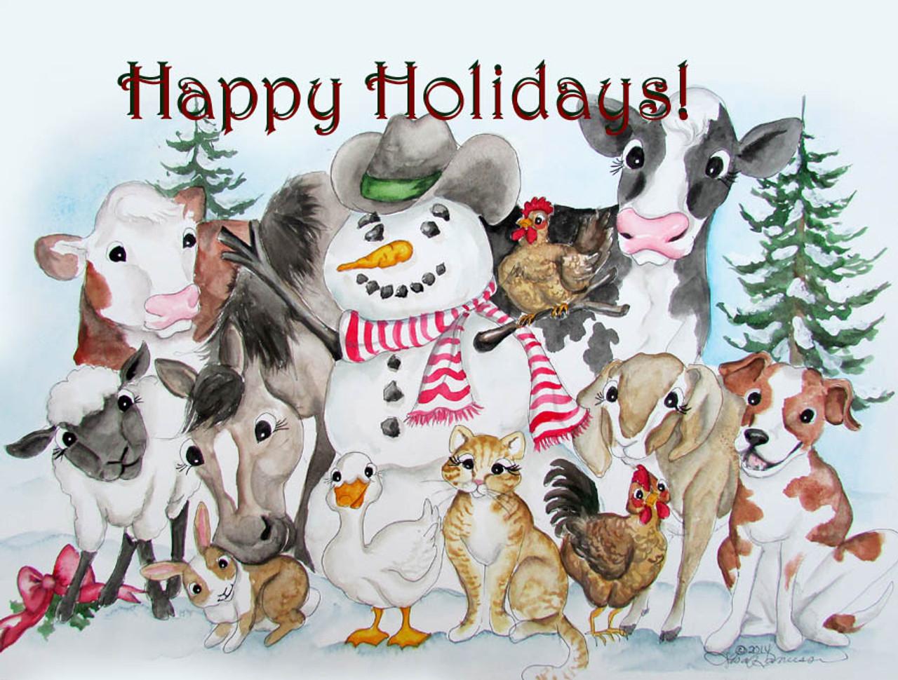 12 cowboy Christmas cards - Udderly Delightful Designs by Lisa Rasmussen