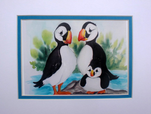 puffin family matted