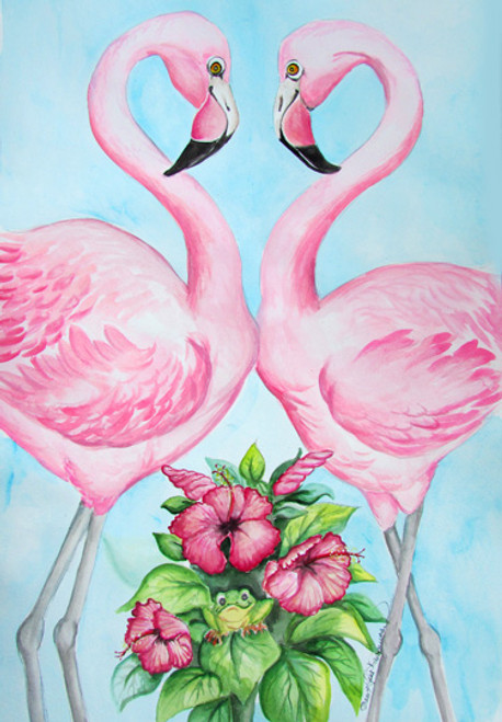 two flamingos flowers frog