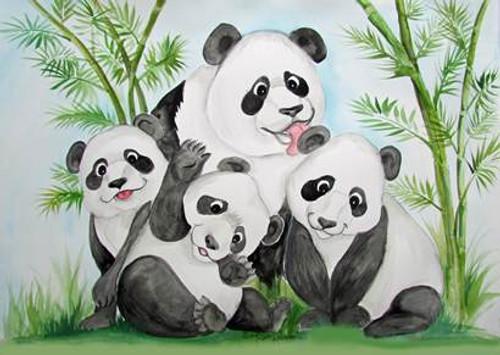 panda and 3 babies