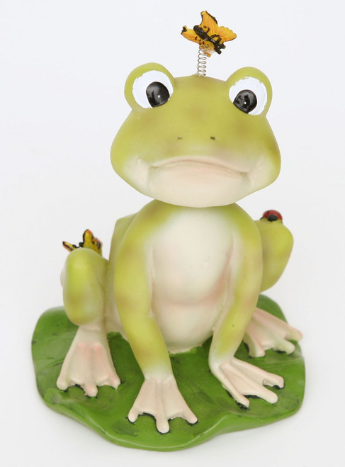 frog bobblehead  This measures about 4 in across and 6 in tall cute with a bug that bobbles