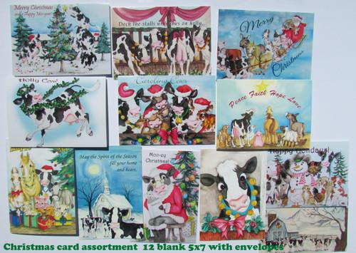 Cow christmas card assortment