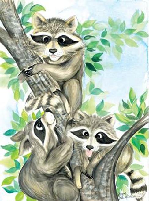 3 racoons climbing