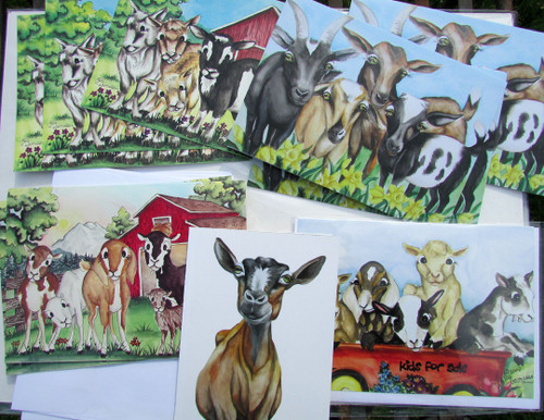 10 assort goat cards with envelopes