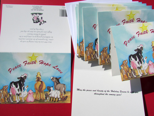 set of 12 Animals of Peace Christmas cards