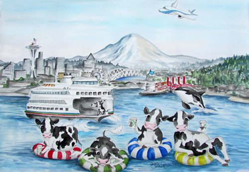 Seattle cows on floaties