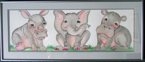 grey pink zoo babies original 10 x 29 matted and framed