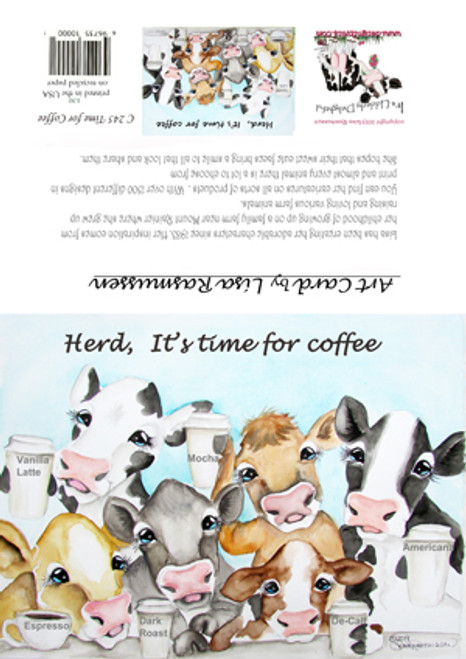coffee cows card Herd it's time for coffee 5x7 blank w envelope