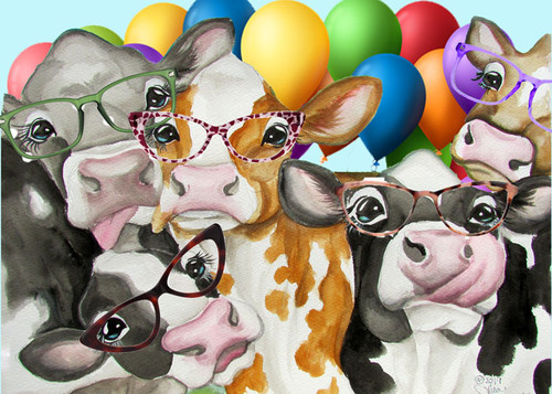 Cow birthday card greeted 5x7 w envelope by Lisa Rasmussen