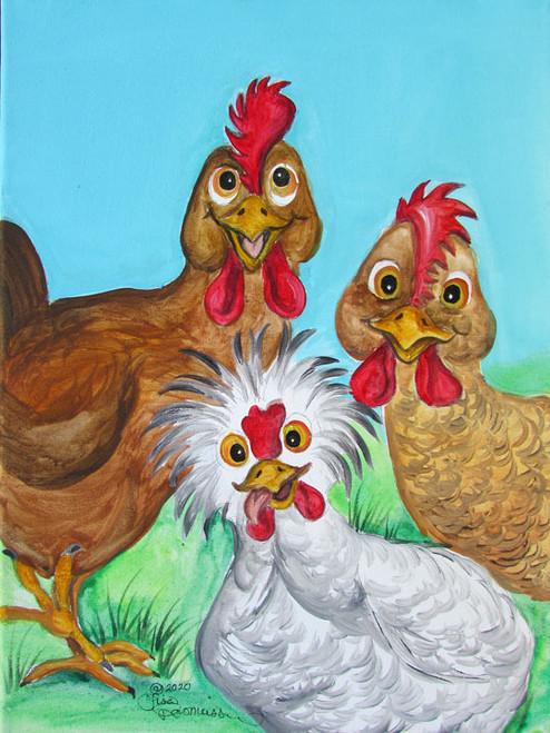 3 hens