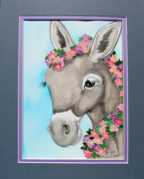 donkey face with flowers