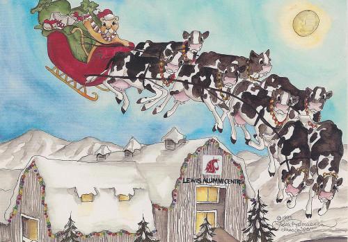 WSU alumni Sleigh cows Christmas