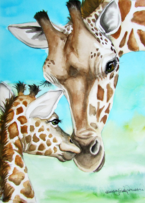 giraffe moms kiss 5x7 blank notecard w envelope