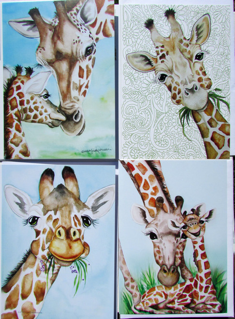 giraffe cards set of 4 different 5 x 7 blank notecards plus one extra
