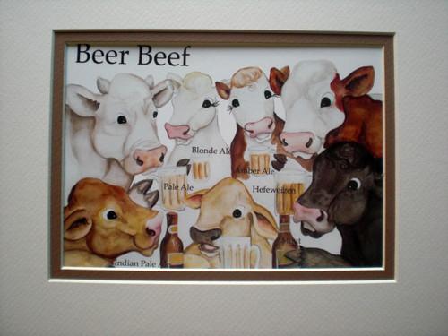 beer beef mat print