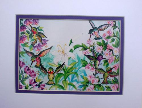bright hummingbirds print matted