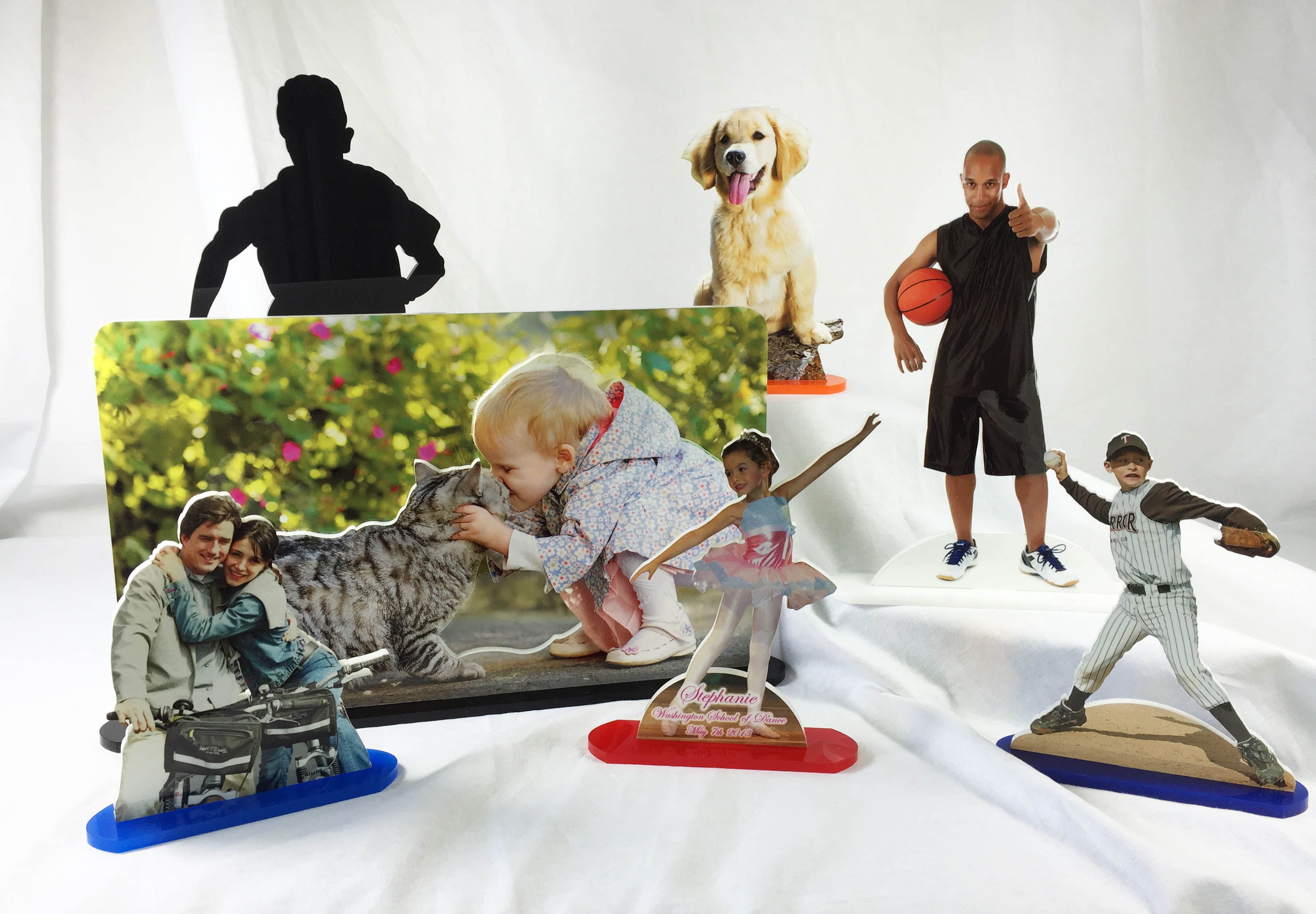 Photo Statuettes, photo cut outs, 3-d photo cut outs
