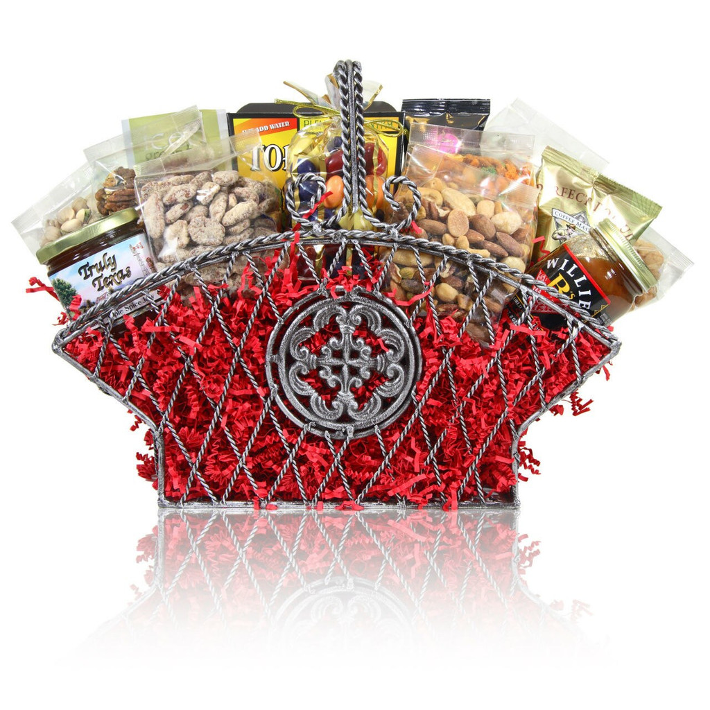 Large Elegant Silver Wire Basket filled with nuts, chocolates, snacks and gourmet food.