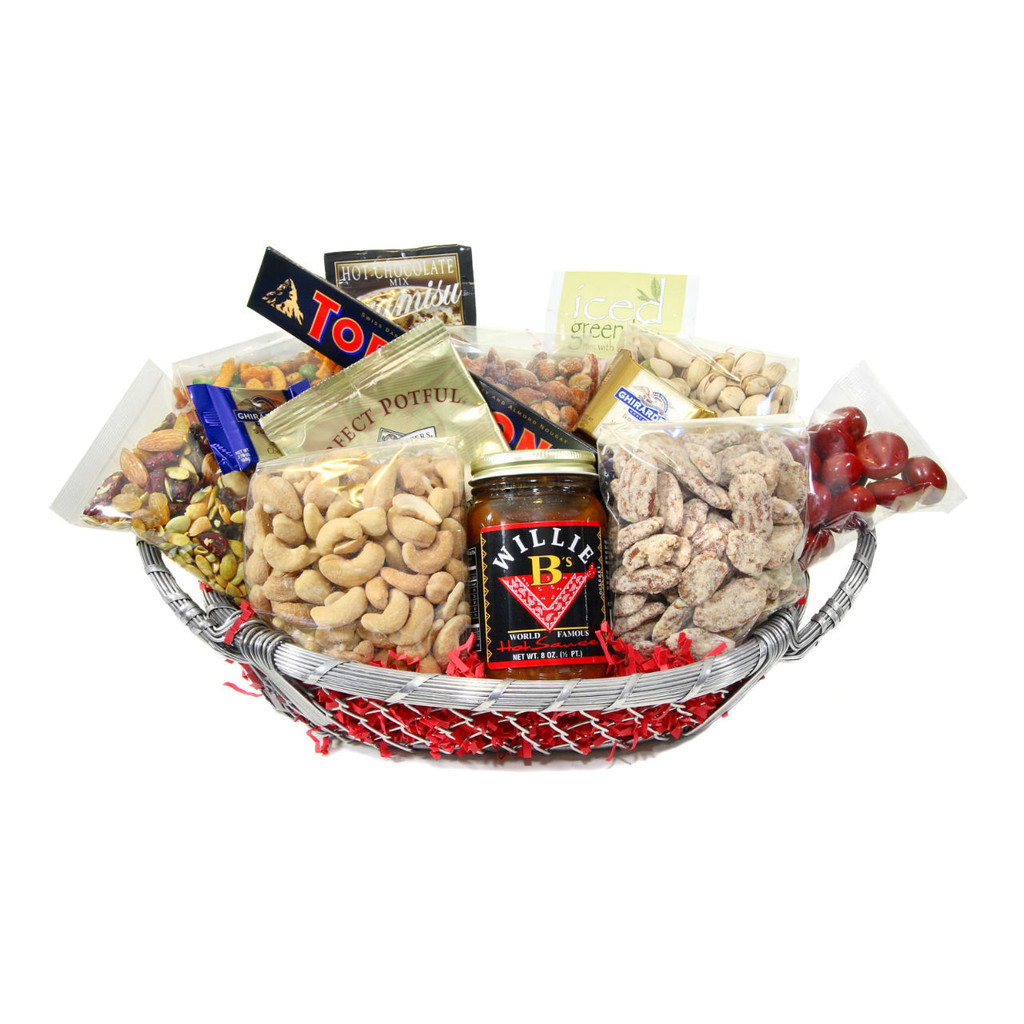 Silver Basket full with gourmet foods, dry roasted nuts and more