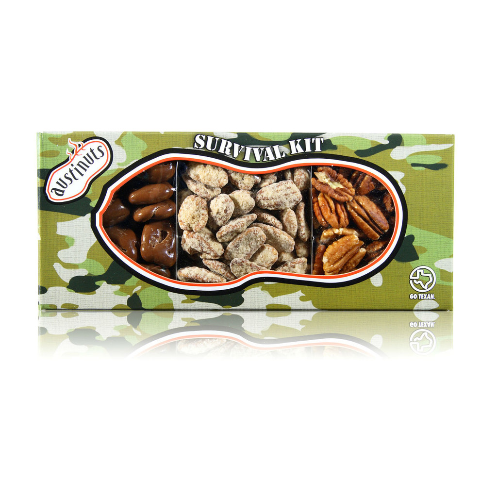 austiNuts Pecanorama Camo Survival Kit is A True Texas favorite filled with Raw Pecans, Praline Pecans & Chocolate Pecans.