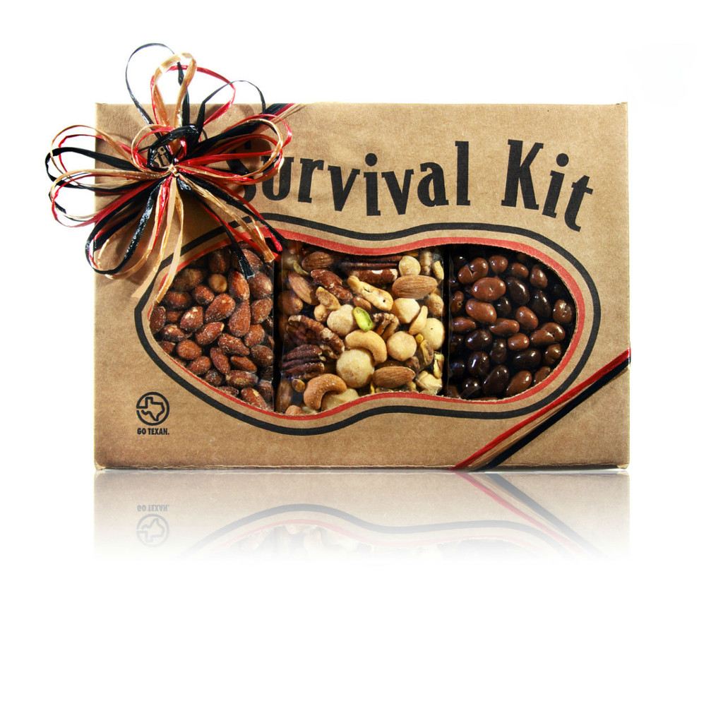 austiNuts Survival Kit - Party Treats is here for you, so you can make it through your next party!  Contains: Smoked Almonds, Salted Deluxe Nut Mix, & Milk/Dark Chocolate Raisins