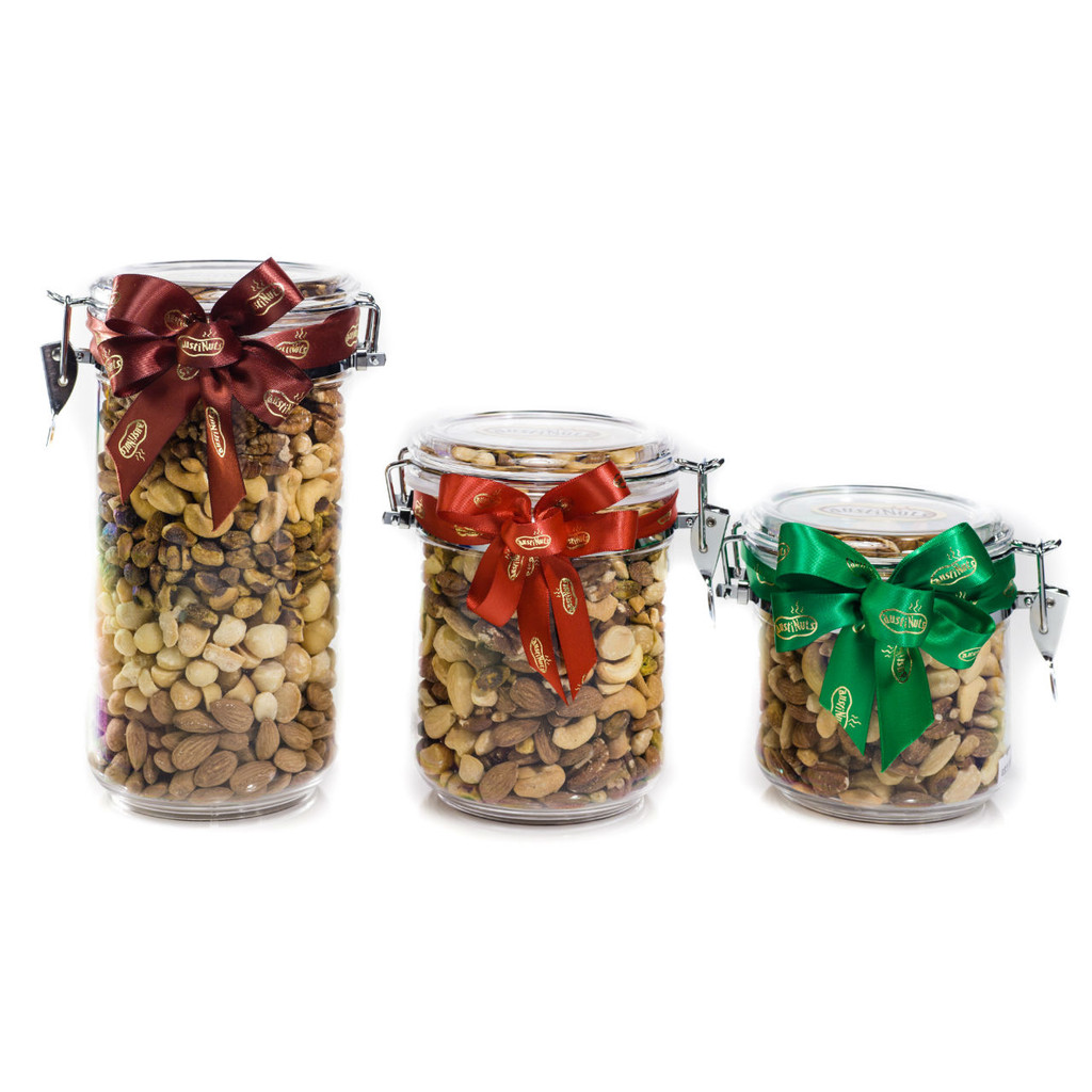Small Medium and Large Acrylic Gift Jars filled with gourmet dry roasted nuts