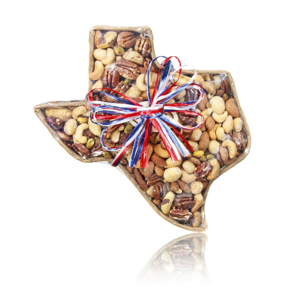 austiNuts Medium Texas Basket with our gourmet Deluxe Nut Mix, fits every occasion.