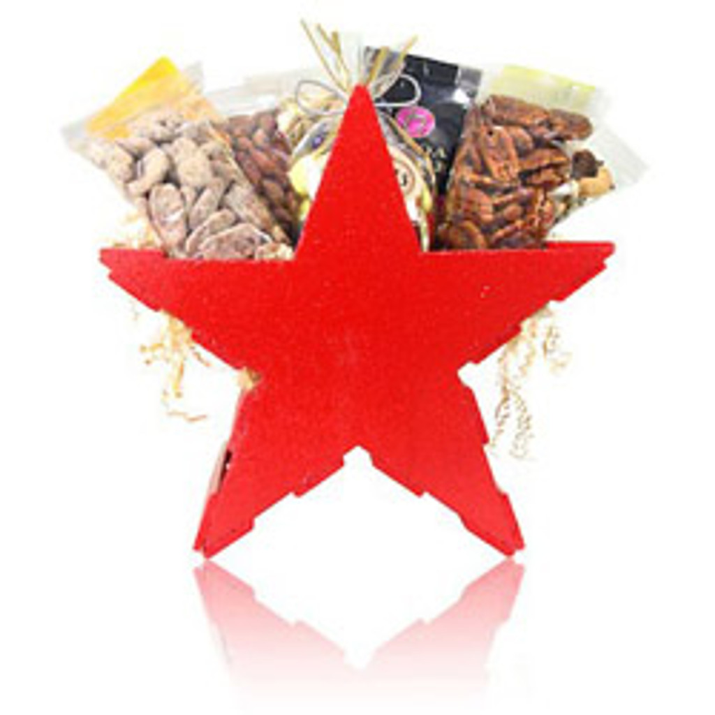 """Looking for an original Texas gift basket? Look no further! austiNuts Texas Star Basket is a great way to welcome someone to our great state or a fantastic """"Thank you"""" gift for out of towners!  Contains: Smoked Almonds, Fancy Fruit & Nut Mix, Mesquite BBQ Pecans, Praline Pecans, Salted Pistachio in Shell, South of Border Mix, Manner Cream Filled Wafers, Ice tea & Ghirardelli Chocolate."""
