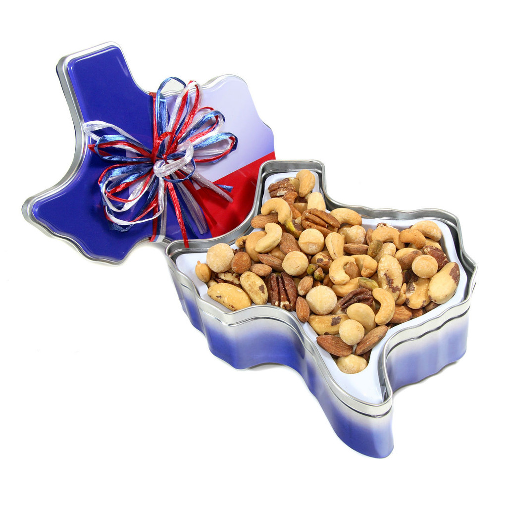 austiNuts best seller Deluxe Nut Mix in a Texas shaped tin.   Contains: Dry Roasted Almonds, Cashews, Pecan Halves, Pistachios and Macadamia nuts, and salt.