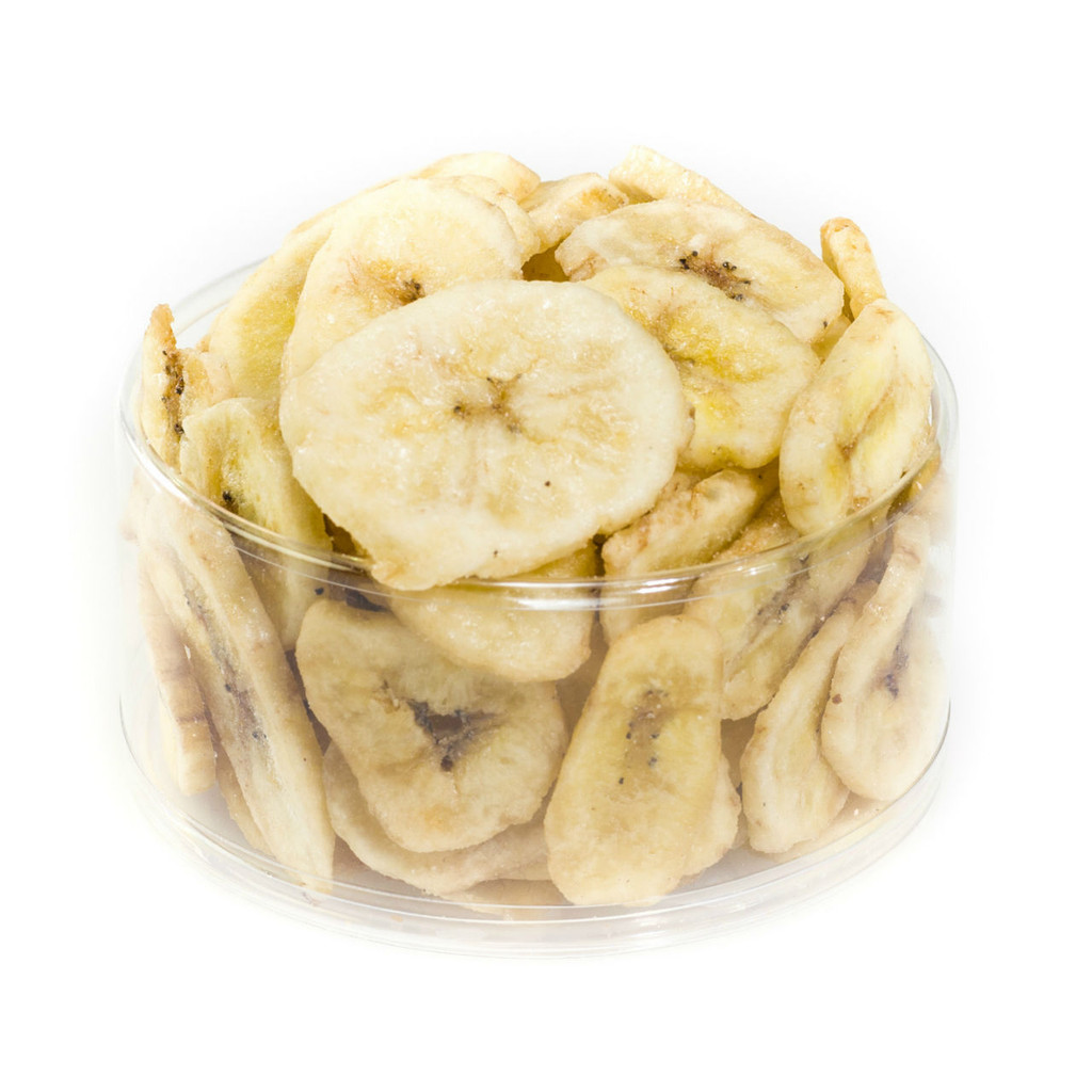 austiNuts Banana Chips are a sweet snack to munch on.   Contains: Banana, sugar, vegetable oil (Sweetened and Dried)  Allergy Information: This product is manufactured in a facility that processes peanuts and nuts.