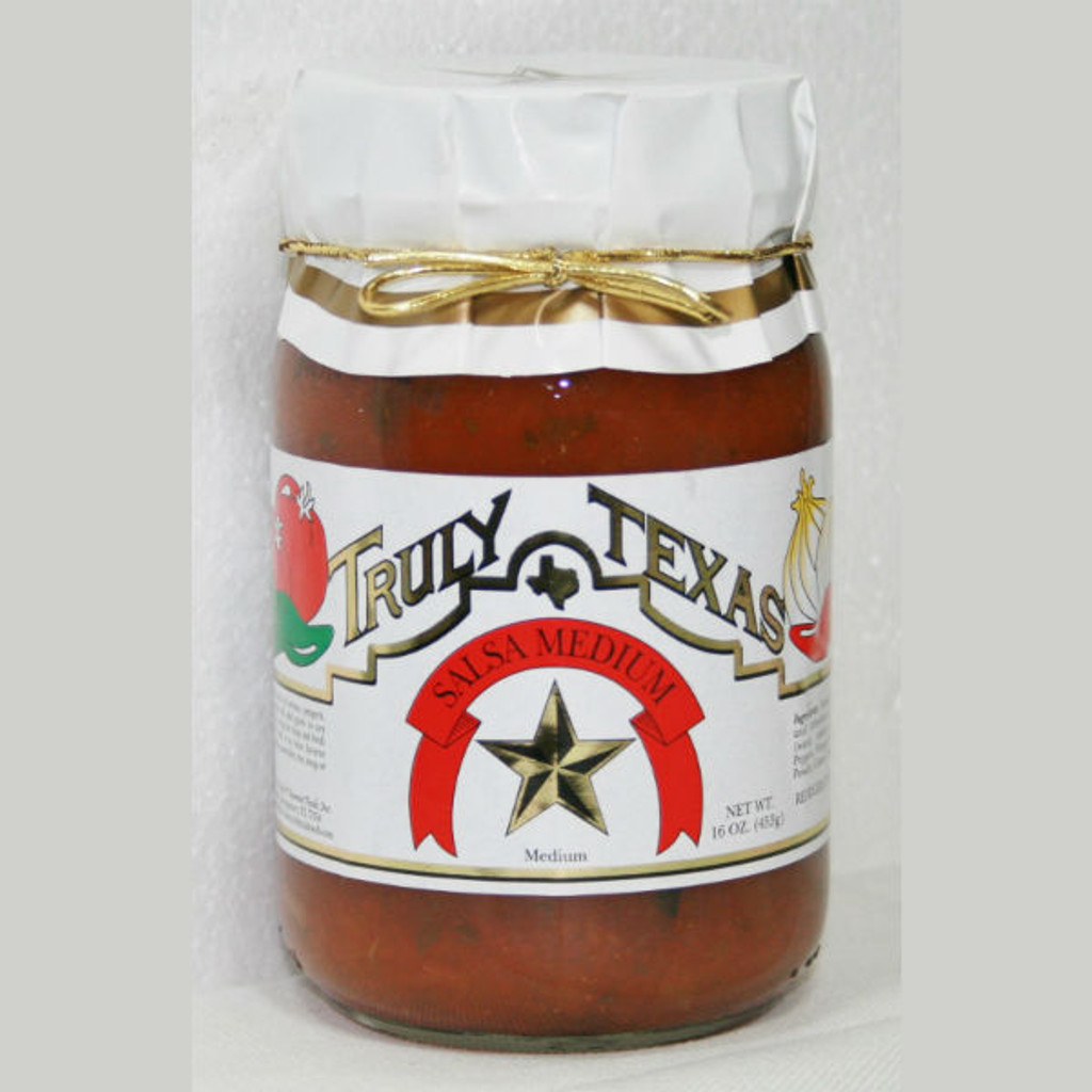 austiNuts carries Truly Texas® -  Medium Heat Salsato help you complete your perfect gift basket, care package, or whenever you are in the mood for some salsa.   Truly Texas Salsa will take you back to range.  This medium salsa is a special blend of onions, peppers, and tomatoes will take you out to the range to any meal. Use as a dip for chips and fresh vegetables.