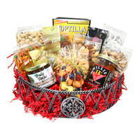 "austiNuts beautiful basket is a very popular item when looking to send a """"Thank You"""" from your business to another. With a large selection of nuts, chocolates, and gourmet items; it can satisfy the cravings of 10-15 individuals.  Contains: Salted Cashews, Mesquite BBQ Pecans, Praline Pecans, Salted Pistachios in Shell, South of the Border Mix, Salted Deluxe Nut Mix, Decorative Bag w/Pastel Chocolate Mix, Yogurt Pretzels, Tex-Mex Tortilla Soup, Salsa Fresca, Coffee Masters Gourmet Coffee, Cocoa Amore Gourmet Mix, & Gourmet Village Iced Tea Mix"