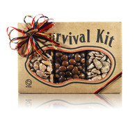 austiNuts Survival Kit - Sweet Treats  is a sweet kit for you and your friends!   Contains: Cinnamon Pecans, Praline Pecans, & Dark/Milk Chocolate Almonds
