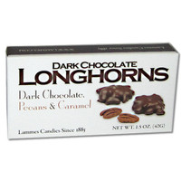 austiNuts carries Dark Chocolate Longhorns to help you complete your perfect gift basket, care package, or if you are just in the mood for dark chocolate.  Premium Texas Pecans are clustered in our signature caramel and smothered in irresistibly smooth dark chocolate.