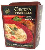 """austiNuts carries Plantyful Pantry® Chicken & Dumplings to help you customize care packages, build baskets, or when you are just in the mood for some good quality soup.  Just Add Water!  Plentiful Pantry Chicken & Dumplings Soup is just like Grandma used to make! Even includes the """"drop"""" dumplings! An entree for six in less than 20 minutes! Serves 6 people."""