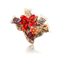 austiNuts Texas Theme Basket with dry roasted cashews and pistachios; chocolates and snacks.