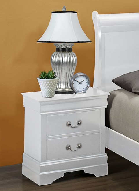 White Finish Louie Night Stand