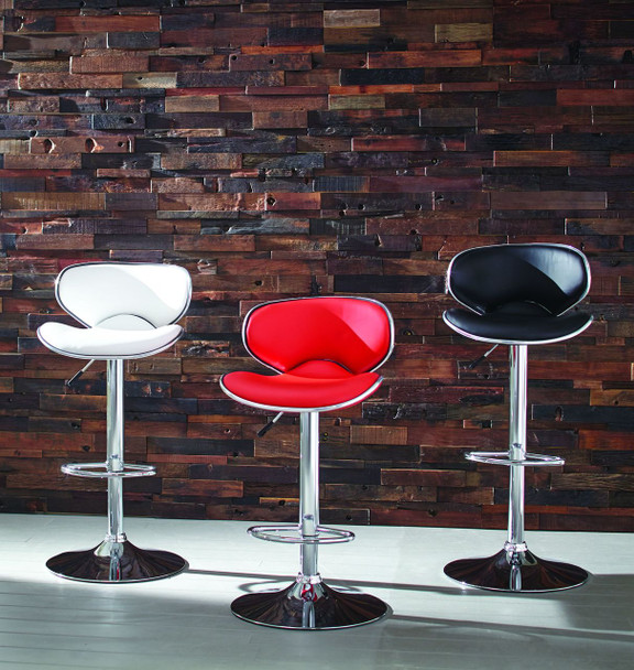 SADDLE SEAT CHROME ADJ BAR STOOLS - (assorted colors)