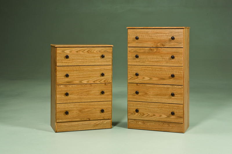 "Oak Finish {27""W x 15""D x 39""H} 4 Drawer, {27""W x 15""D x 47""H} 5 Drawer."